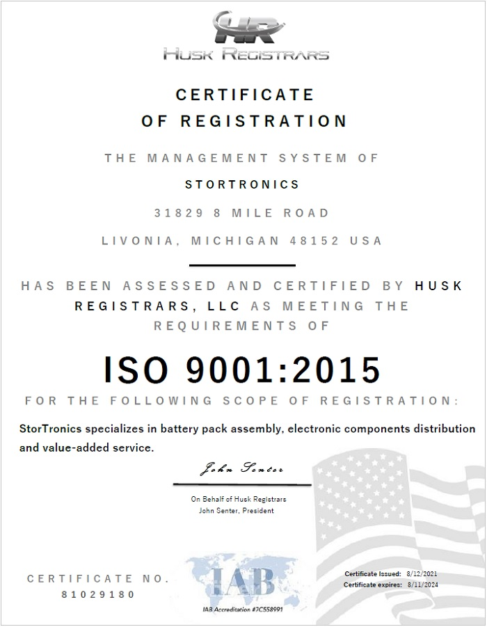 Stortronics ISO 9001-2015 Certificate July 2021